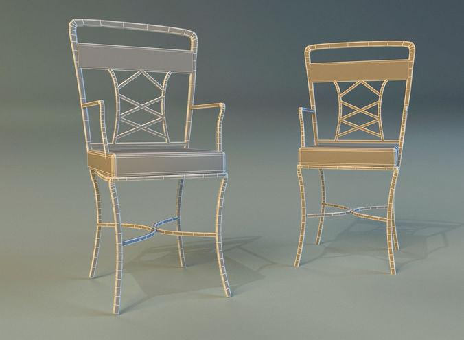 chair metal kitchen 3d model max obj 3ds fbx