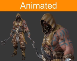 animated game-ready 3d asset character barbarian