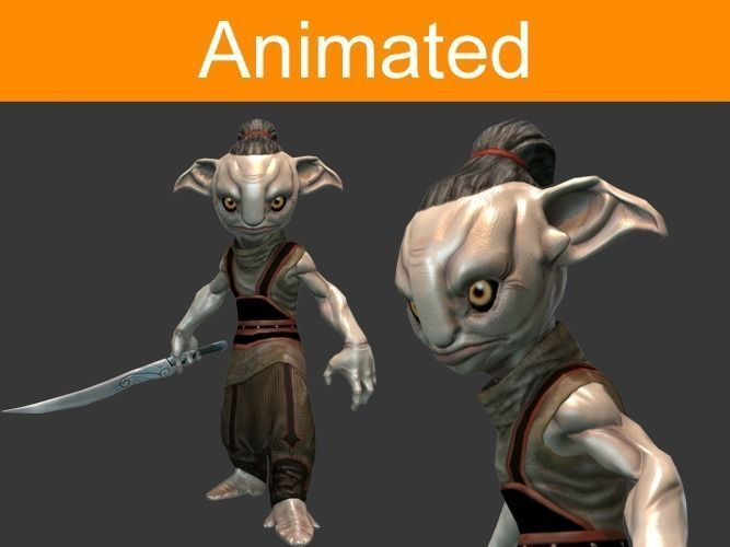 character forest guard 3d model low-poly rigged animated max 3ds fbx tga 1