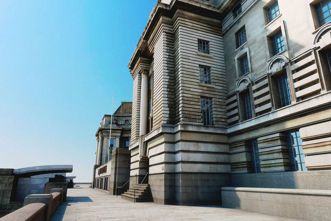 county hall  -  london  -  textured 3d model max obj mtl 1