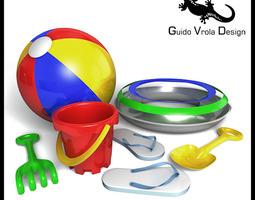 3d model beach toys set