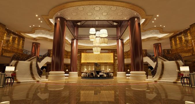 3D Luxury Lobby passageway | CGTrader