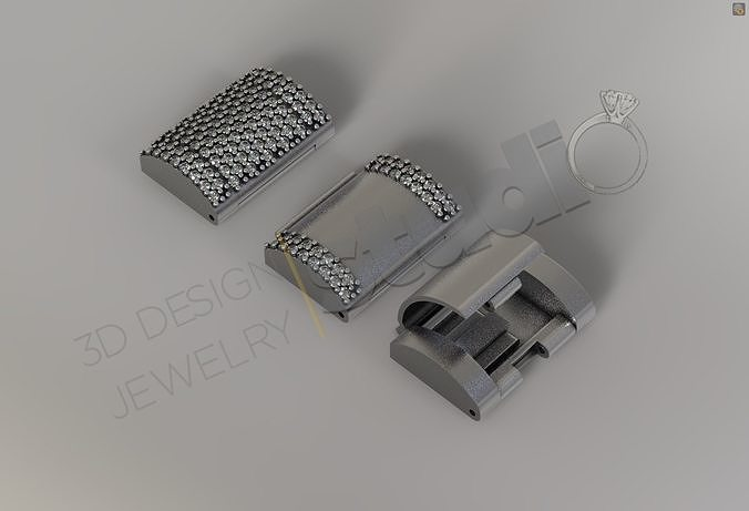 Chain lock clasp  for Cuban Link size 2 3d model