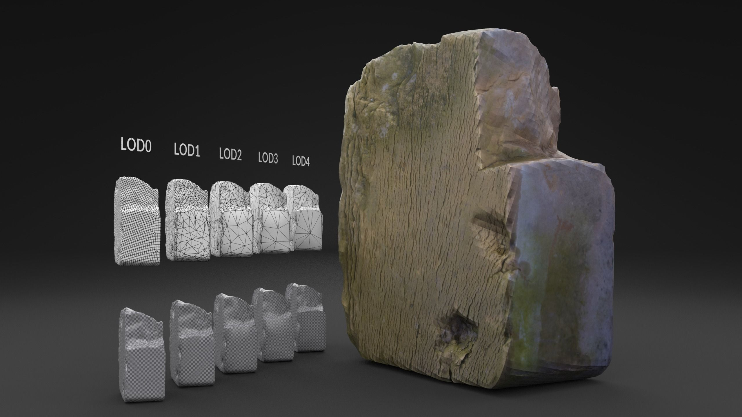 Scanned Old Half Red Brick LOW POLY LODs