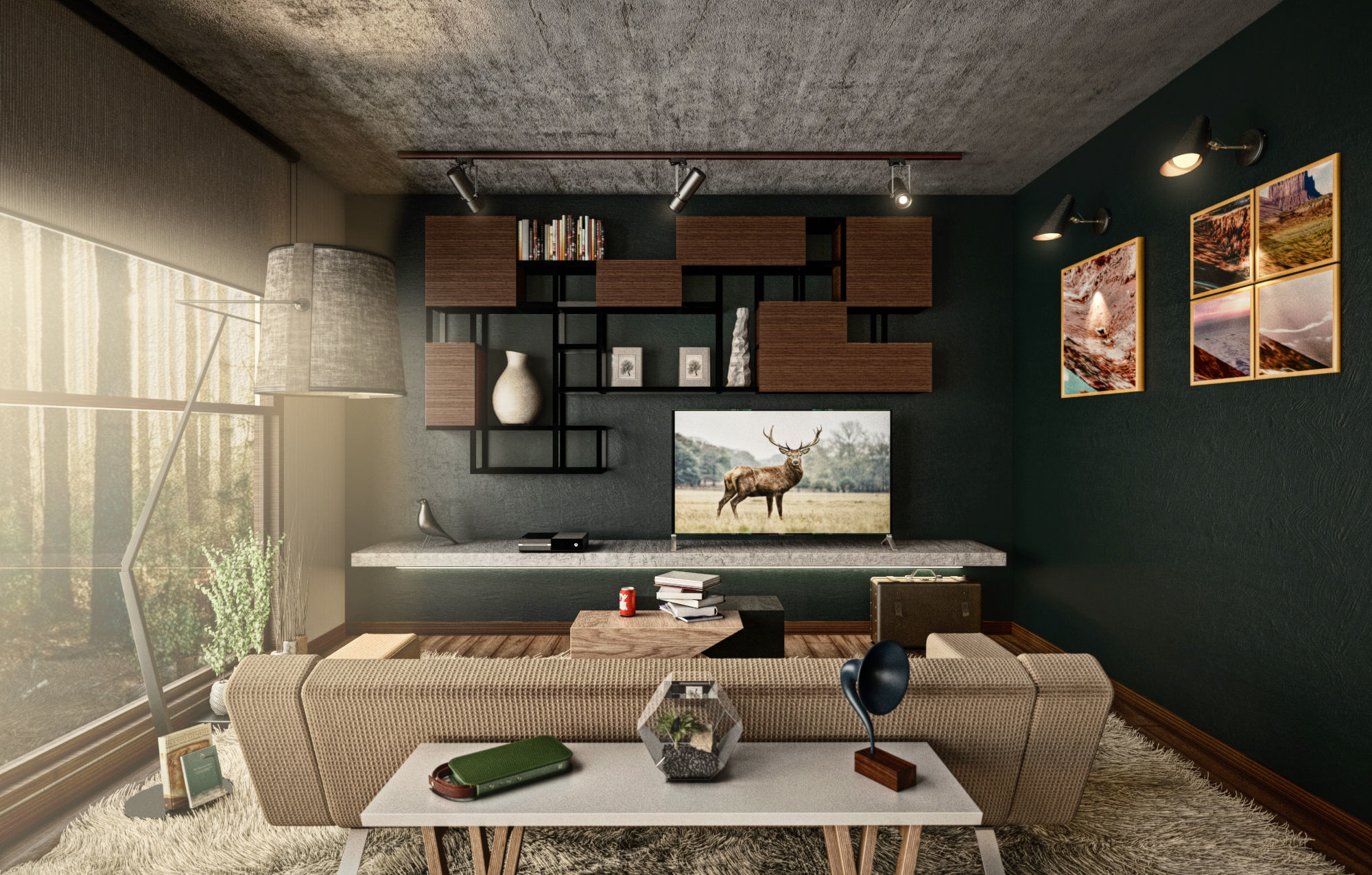 Architectural Interior Scene - Living Room