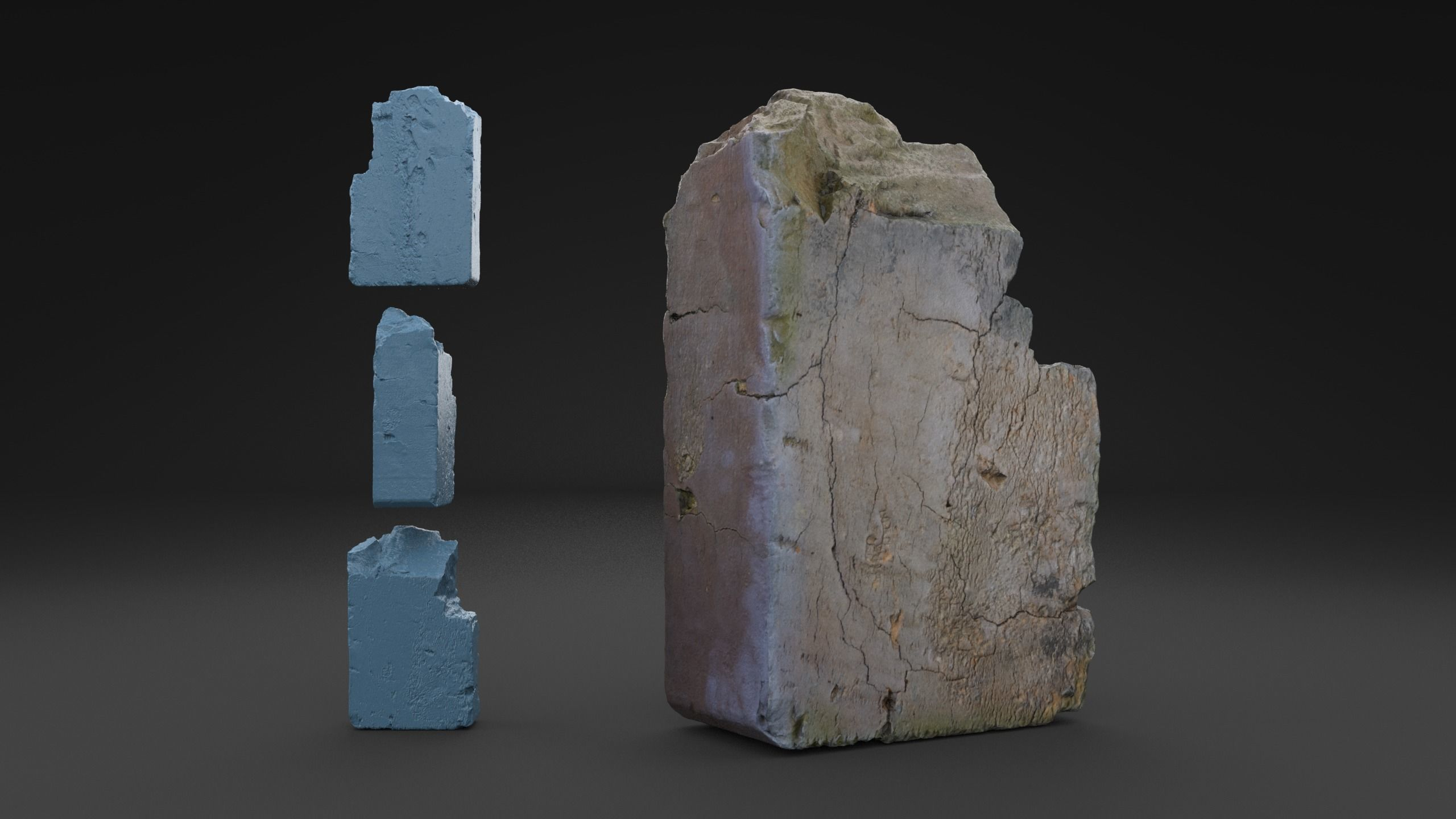 Scanned Broken Red Ceramic Brick HIGH POLY