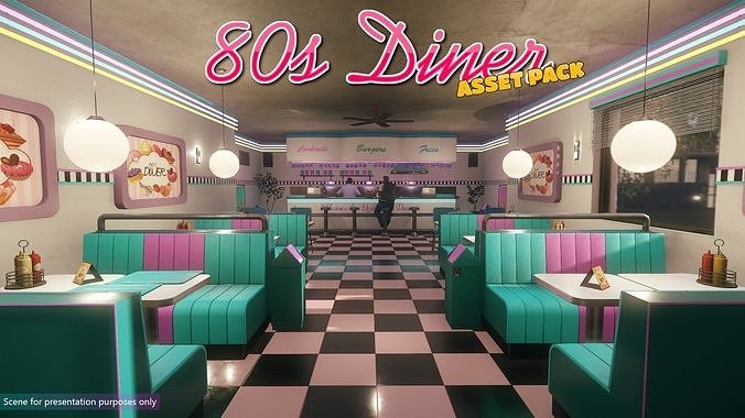 Low-Poly 80s Diner Pack