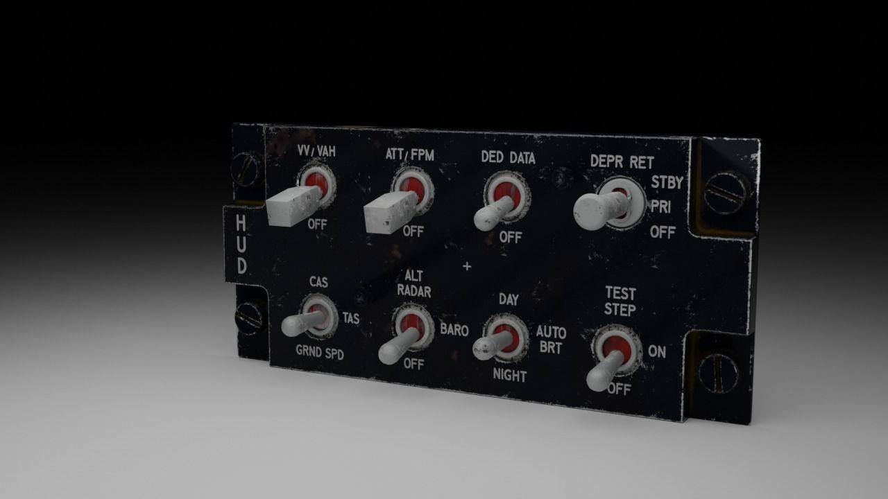 F16 Hud Remote Control Panel 3d Model
