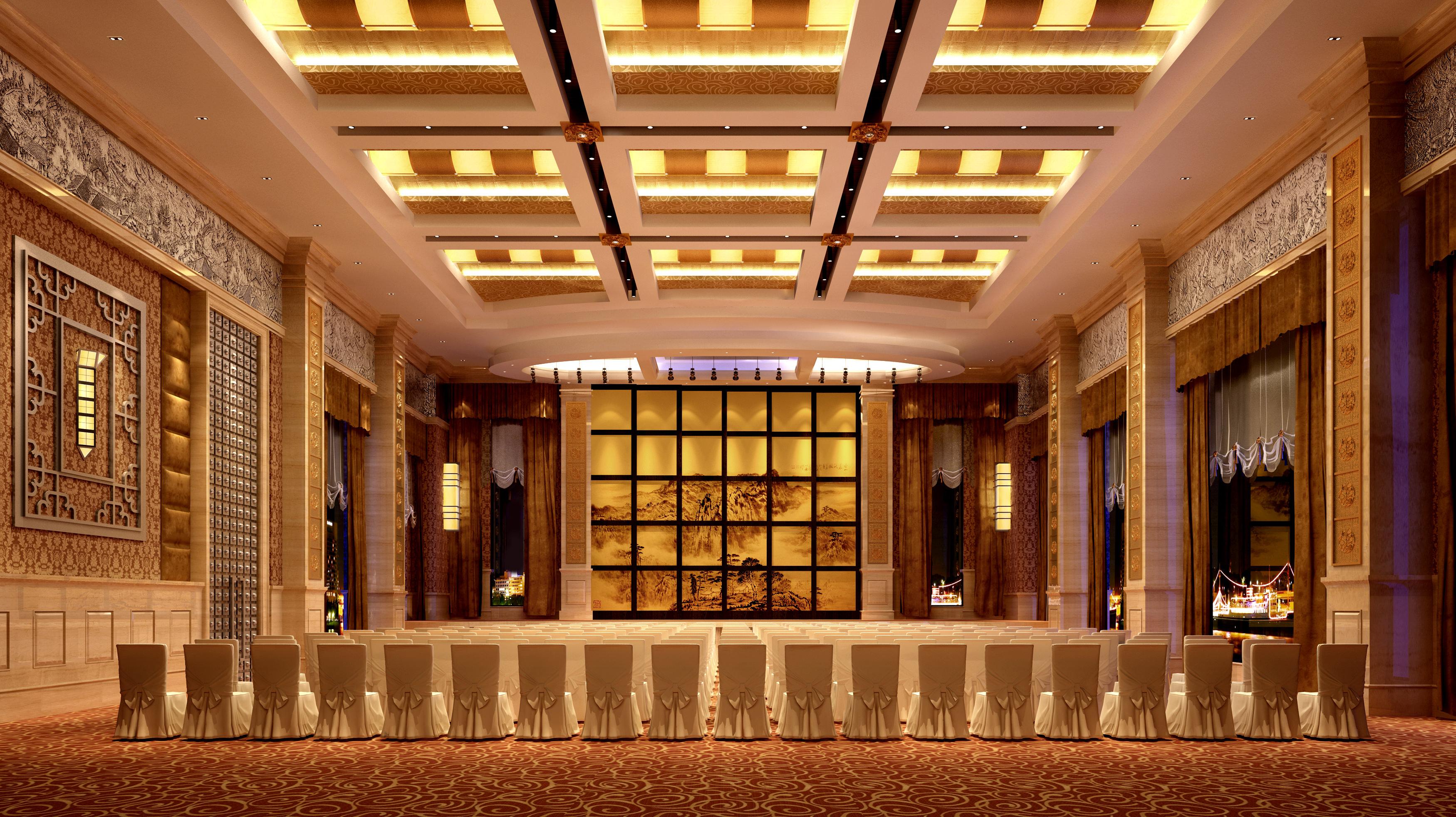 Banquet hall reception area download 3d house - Banquet Hall 3d Model
