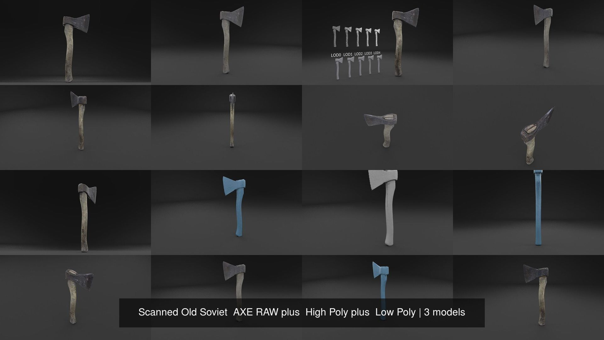 Scanned Old Soviet  AXE RAW plus  High Poly plus  Low Poly