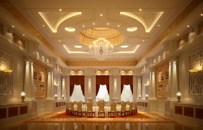 Luxury Banquet Hall Interior 3d Model Cgtrader
