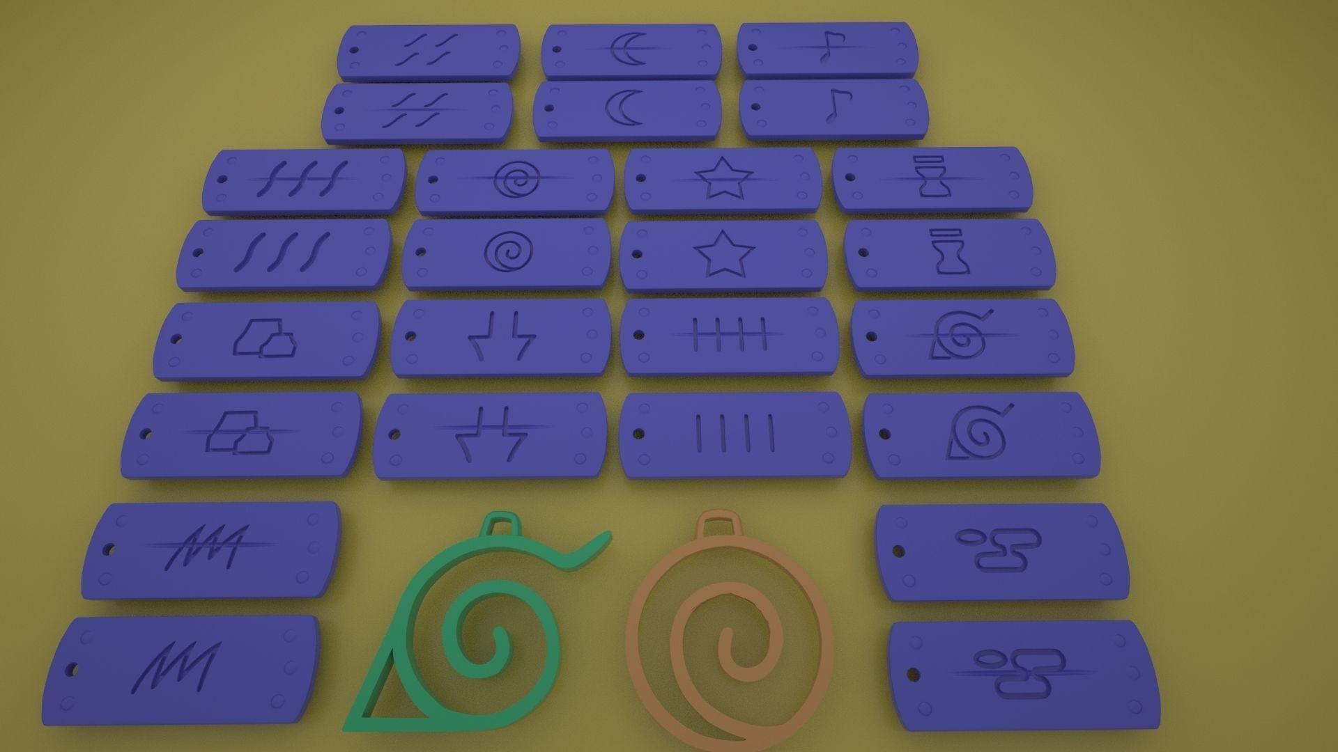 Naruto Village Symbols Keychains-necklace-bracelet 3d printable