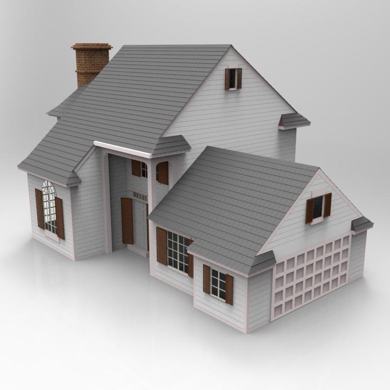 Modern house 3d model max obj for Simple modern house models 3d