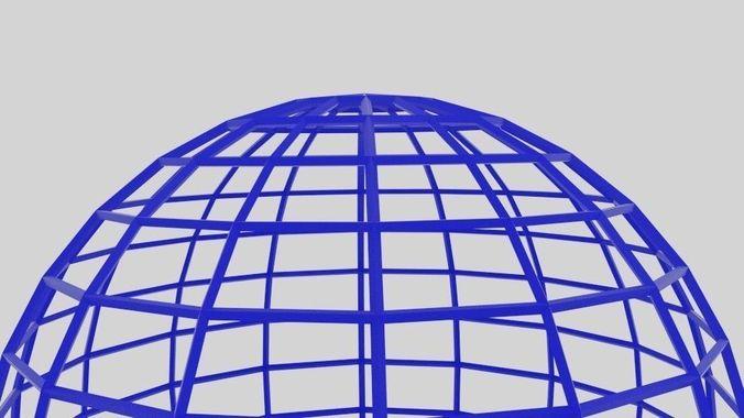 3D Model Wireframe Sphere VR / AR / Low-poly OBJ 3DS FBX BLEND DAE MTL