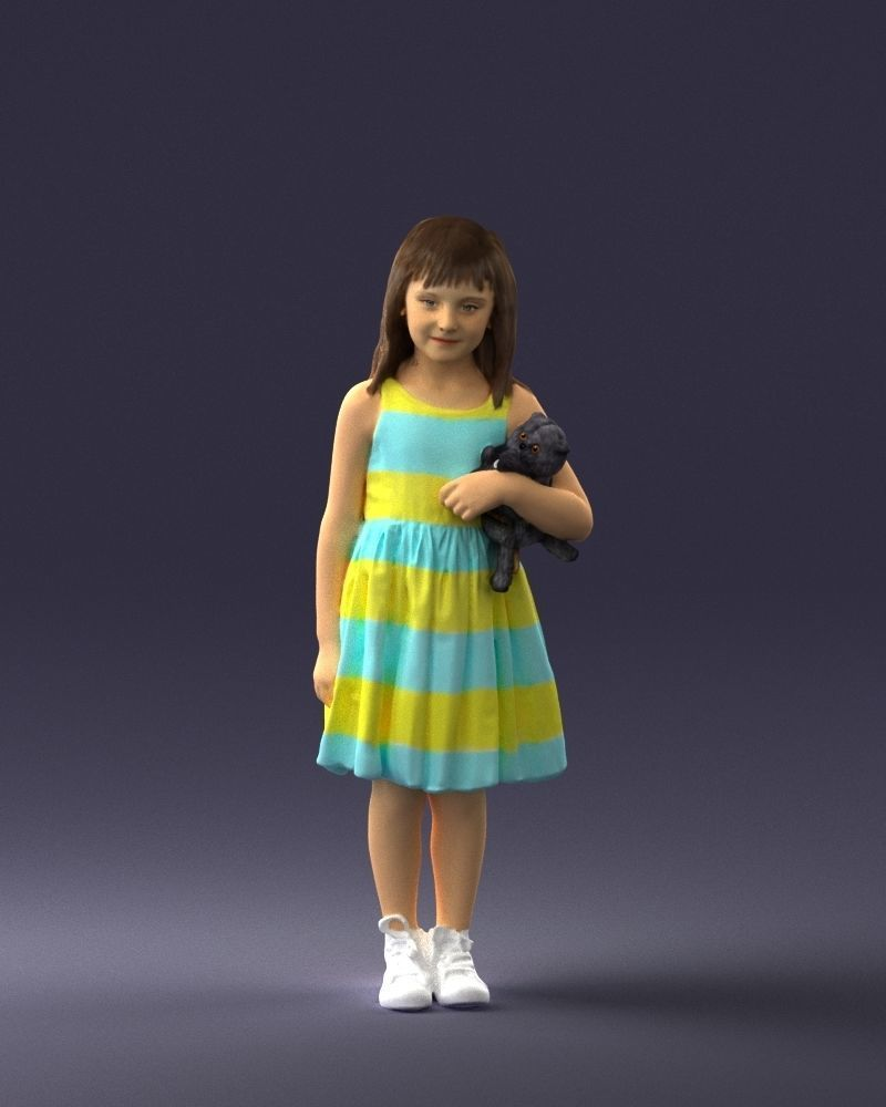 Girl with toy cat 0130 3D Print Ready