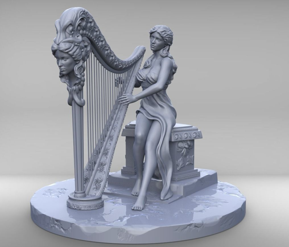 Woman with harp stl and high poly