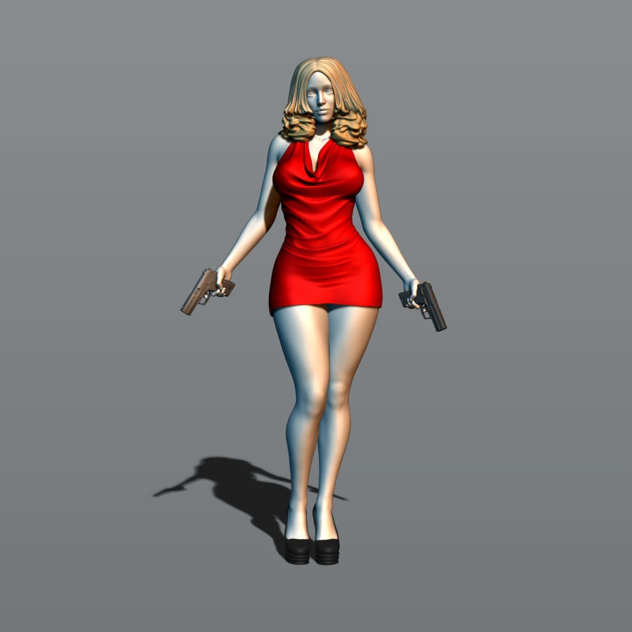 Pretty girl with two guns