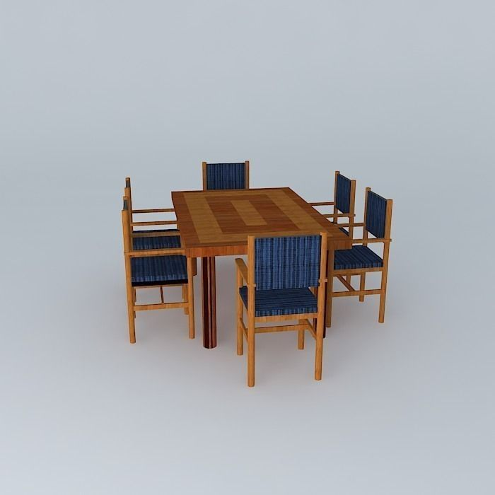 Dinng Table With Chairs free 3D Model MAX OBJ 3DS FBX STL ...
