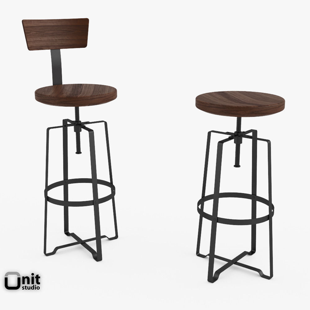 Rustic Industrial Stool By West Elm 3d Model Max Obj 3ds