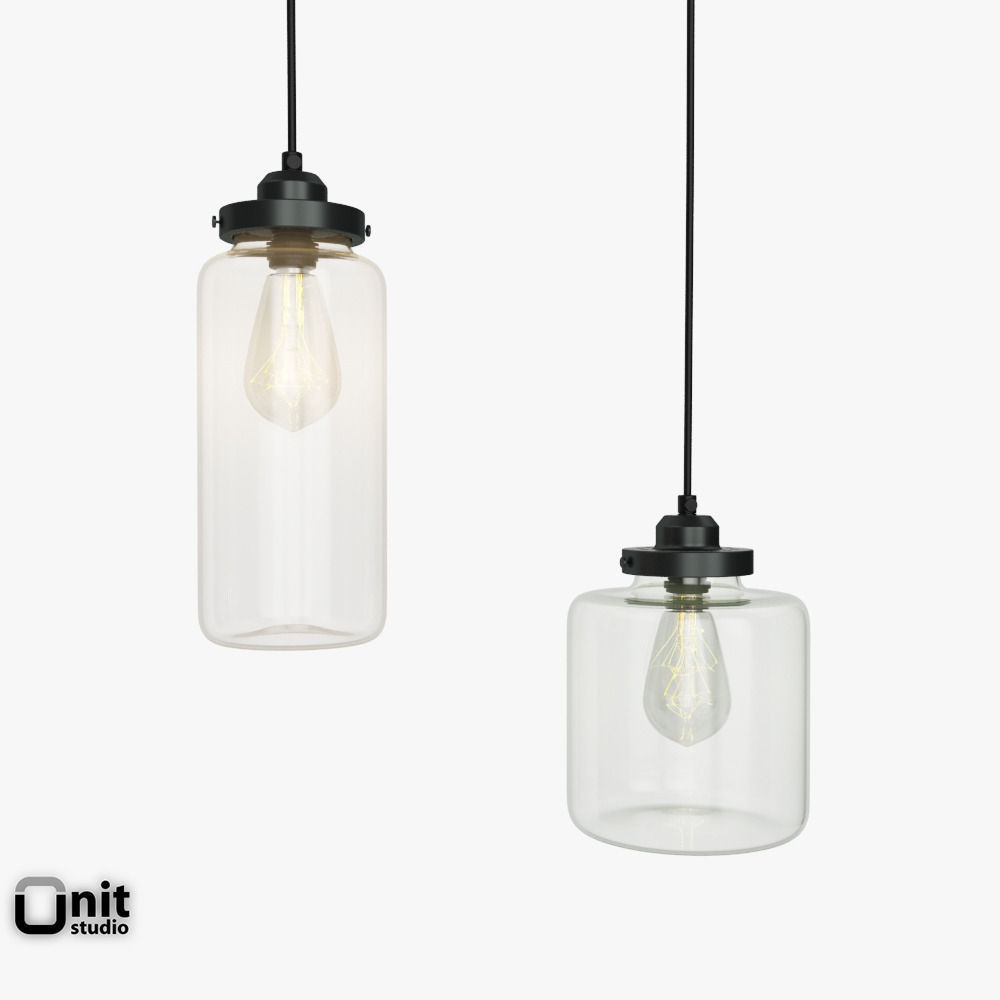 Glass Jar Pendant Light By West Elm 3D Model MAX OBJ 3DS FBX DWG