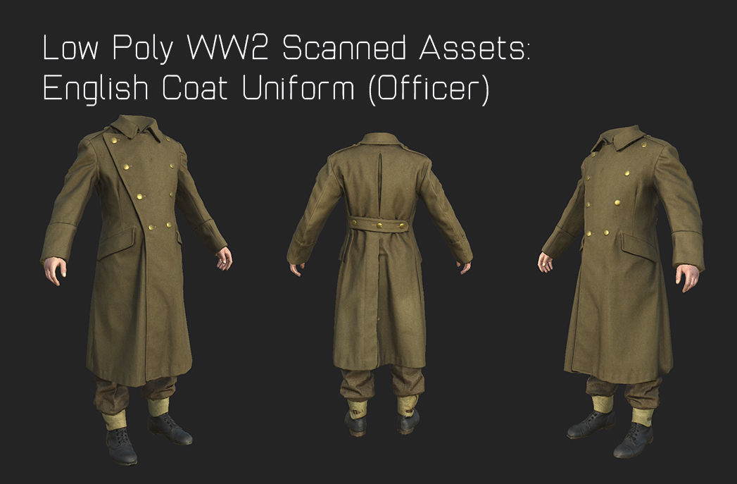 WW2 English Military Uniform Officer - WW2 Scanned Asset Pack