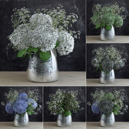 bouquet of gypsophila with hyndrangeas 3d model max obj 1