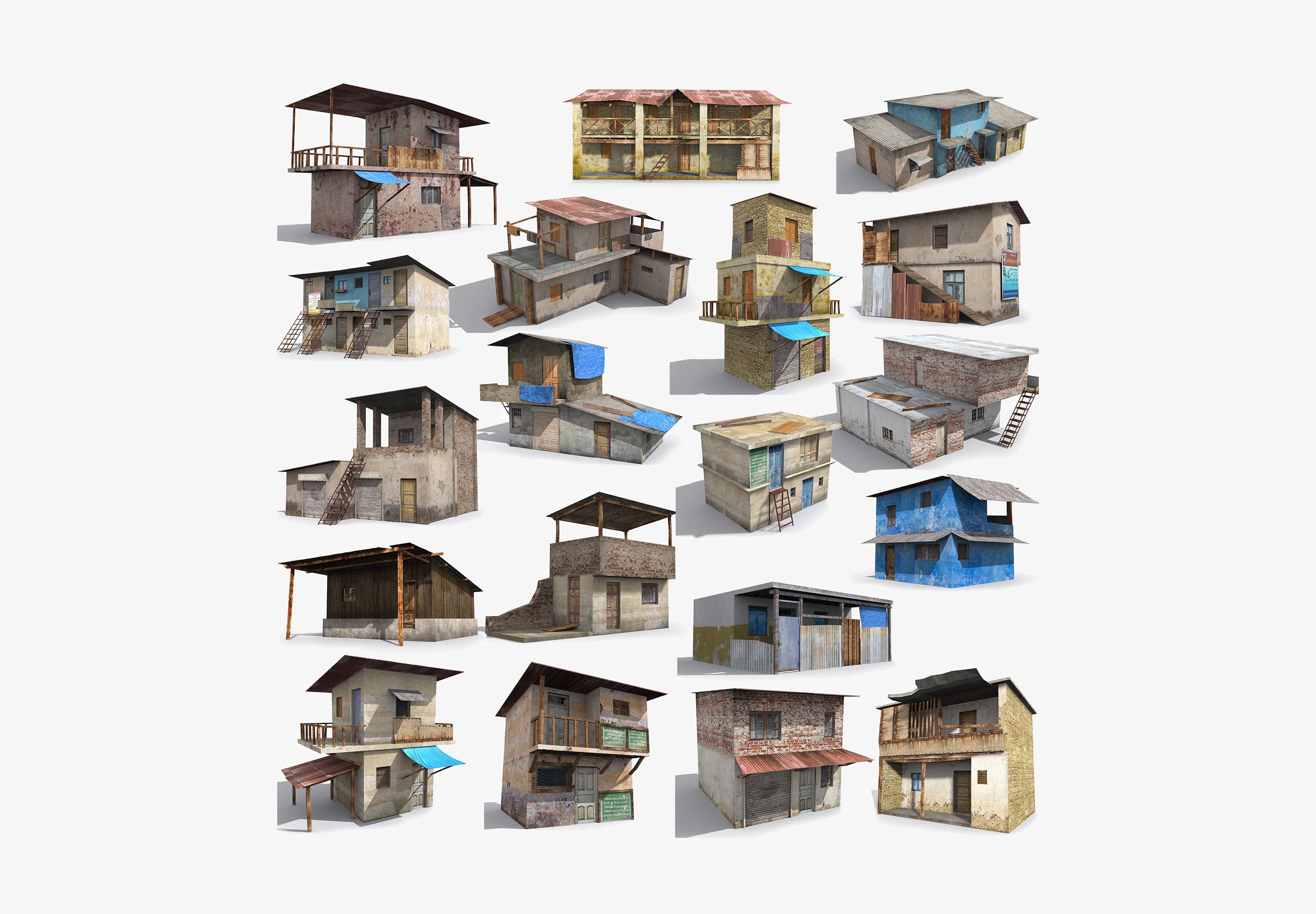 19 Slum Collection Low-poly 3D model