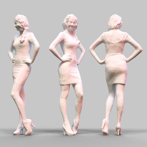 girl posing 3d model obj 1