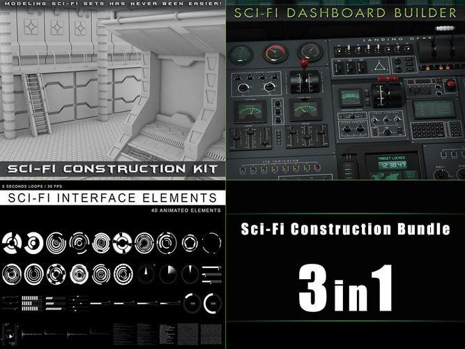 sci-fi construction bundle 3d model obj mtl fbx ma mb pdf 1