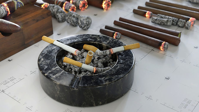 Cigars Cigarettes Joints Blunts and Ashtrays - 3D AssetKit PBR