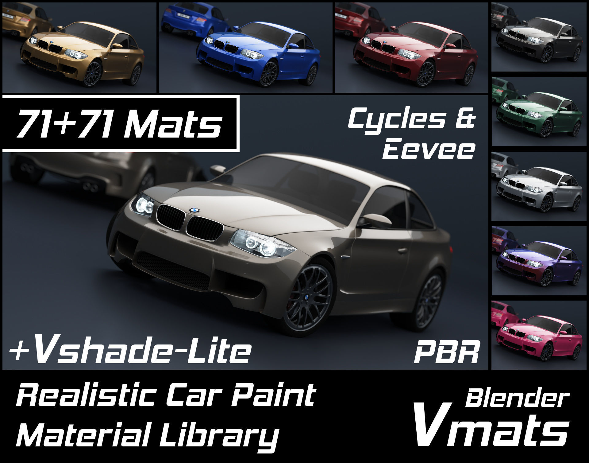 VMATS Car Paint Material Library for Blender Cycles and Eevee