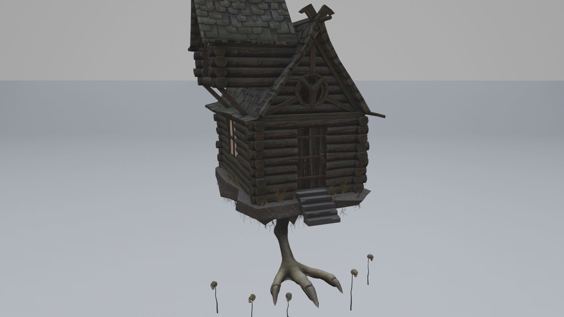 Low Poly Rigged Baba Yagas Hut Scene With PBR Materials