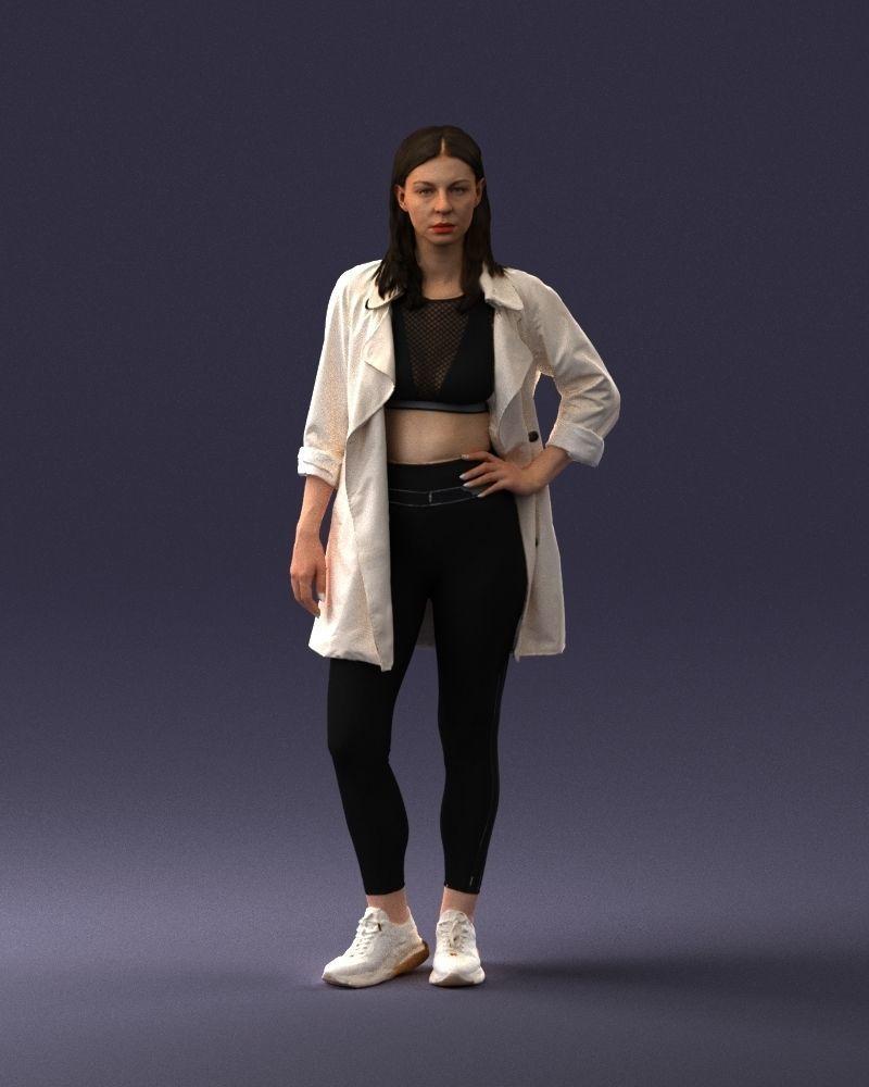 Fashionable girl in white raincoat 0427