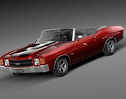 chevrolet chevelle ss convertible 1971 3d model max obj 3ds fbx c4d lwo lw lws