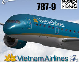 Boeing 787-9 Vietnam airlines livery 3D model