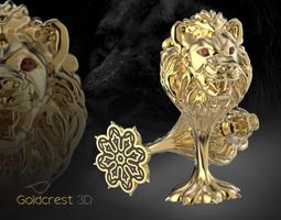 lion cufflinks 3d printable model