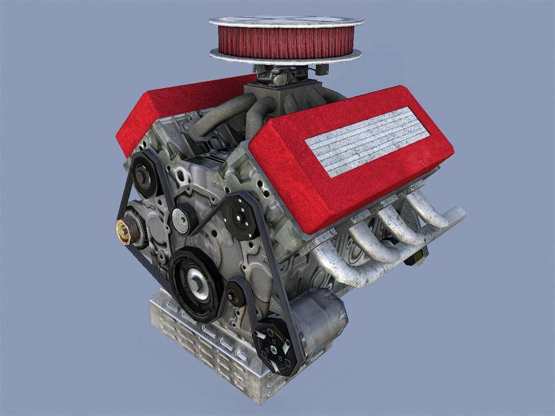 Car Engine Model Obj Mtl Fbx Dae Tga 1