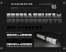 black dog hypertype extrude font plus bonus 3d model