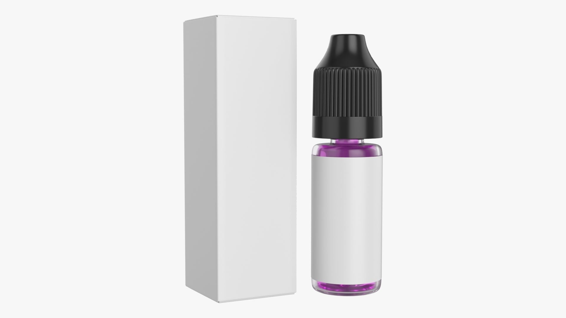 Vapor liquid bottle small with black cap and box