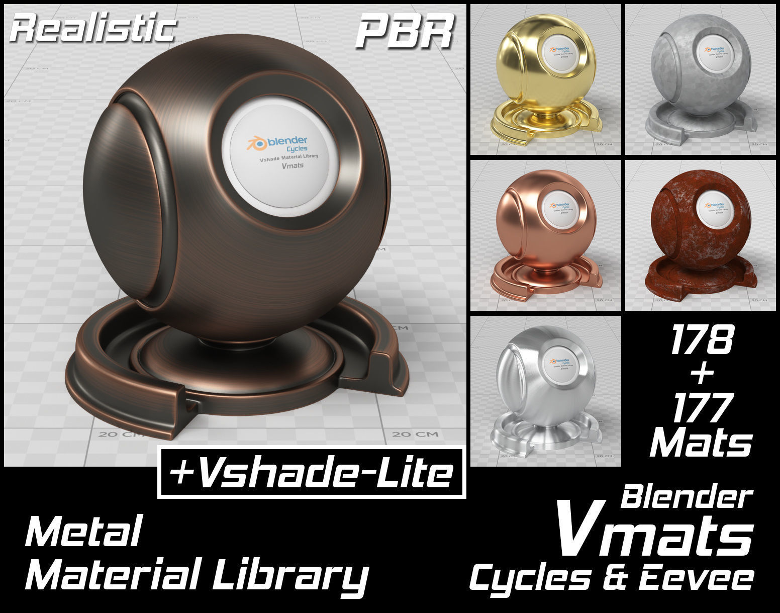 VMATS Metal Material Library for Blender Cycles and Eevee