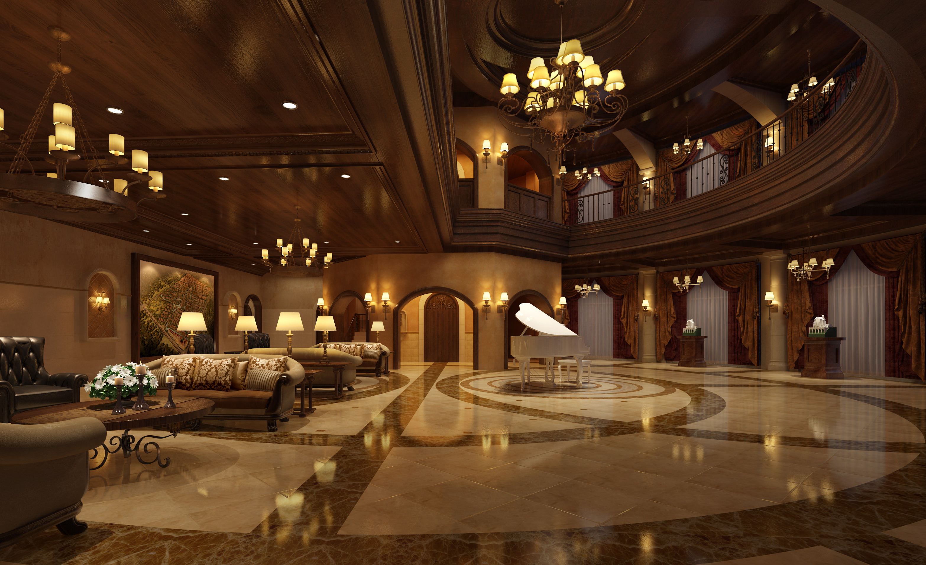 3d rendering luxury hotel lobby china luxury china hotel lobby -  Lobby Hall 3d Model Max Tga 2