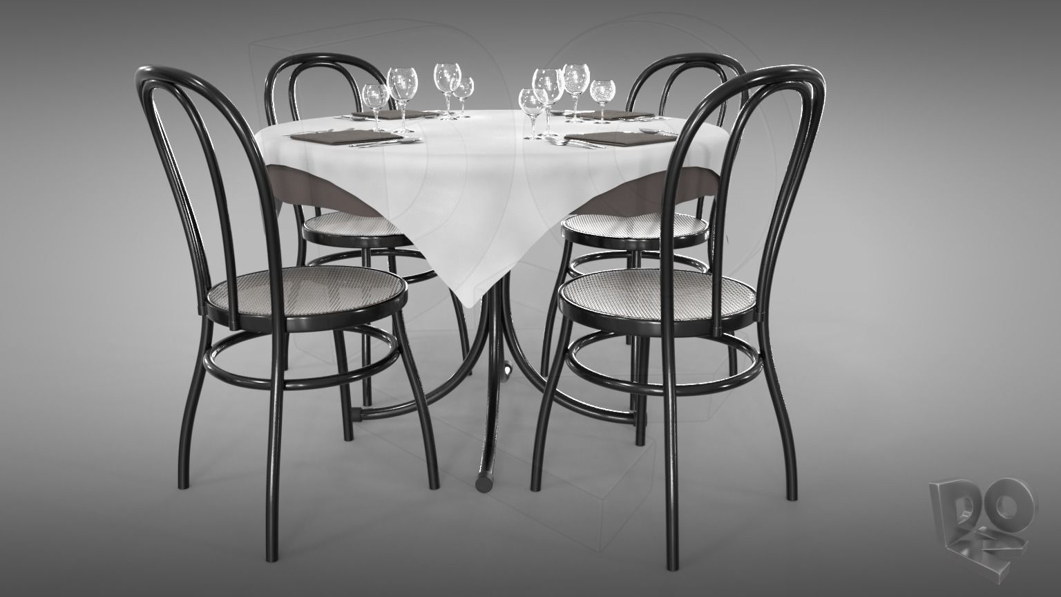 Restaurant table plus cutlery and chairs