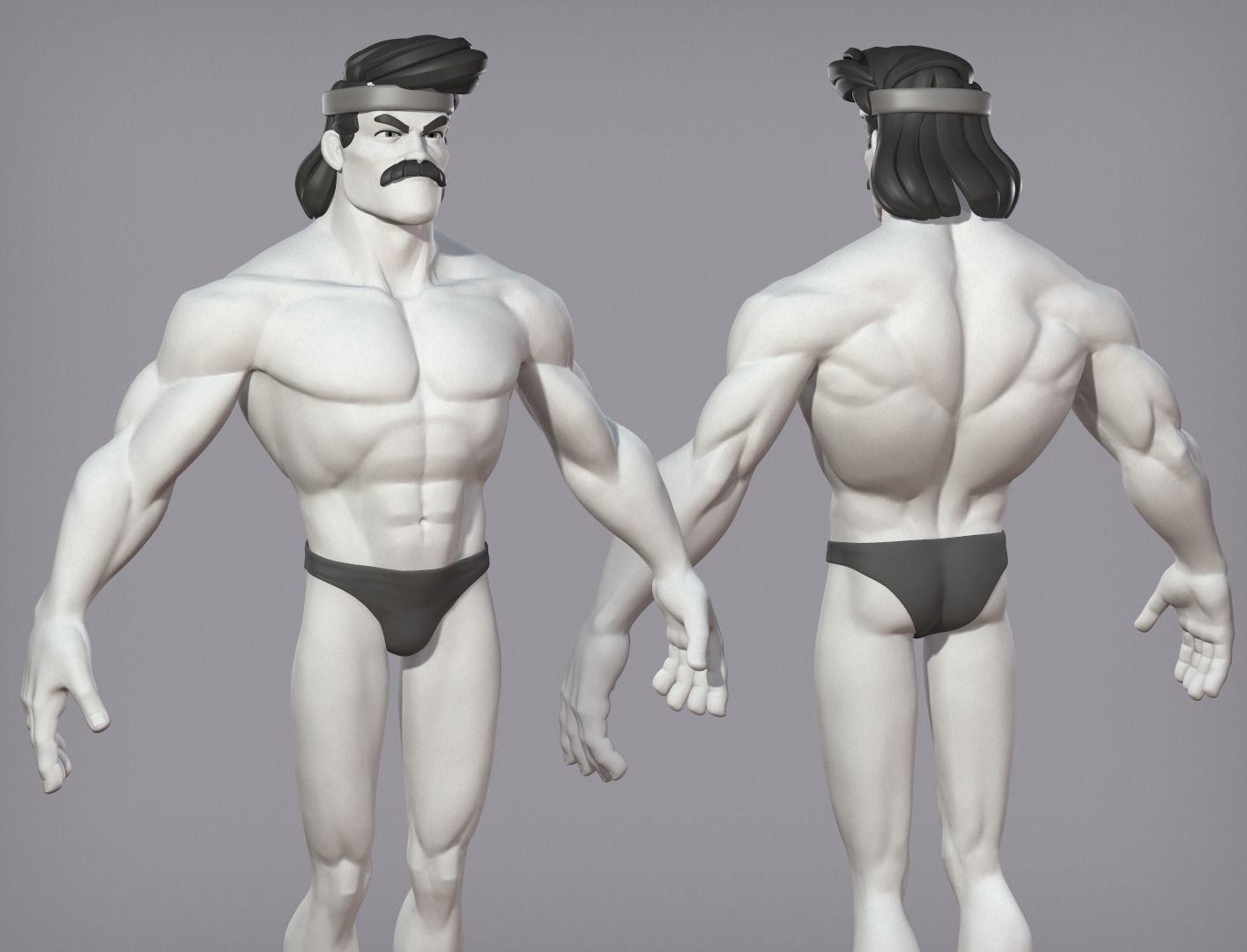 Cartoon male character Karl base mesh