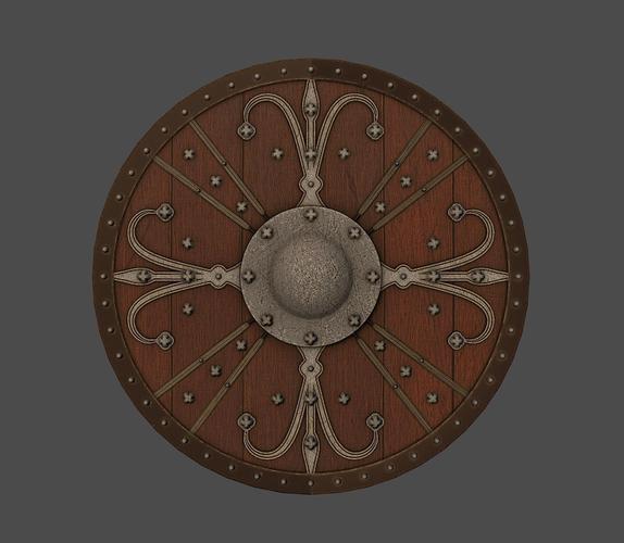 ornamented shield 3d model low-poly obj mtl fbx tga 1
