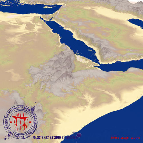 Middle East elevation map 3D CGTrader