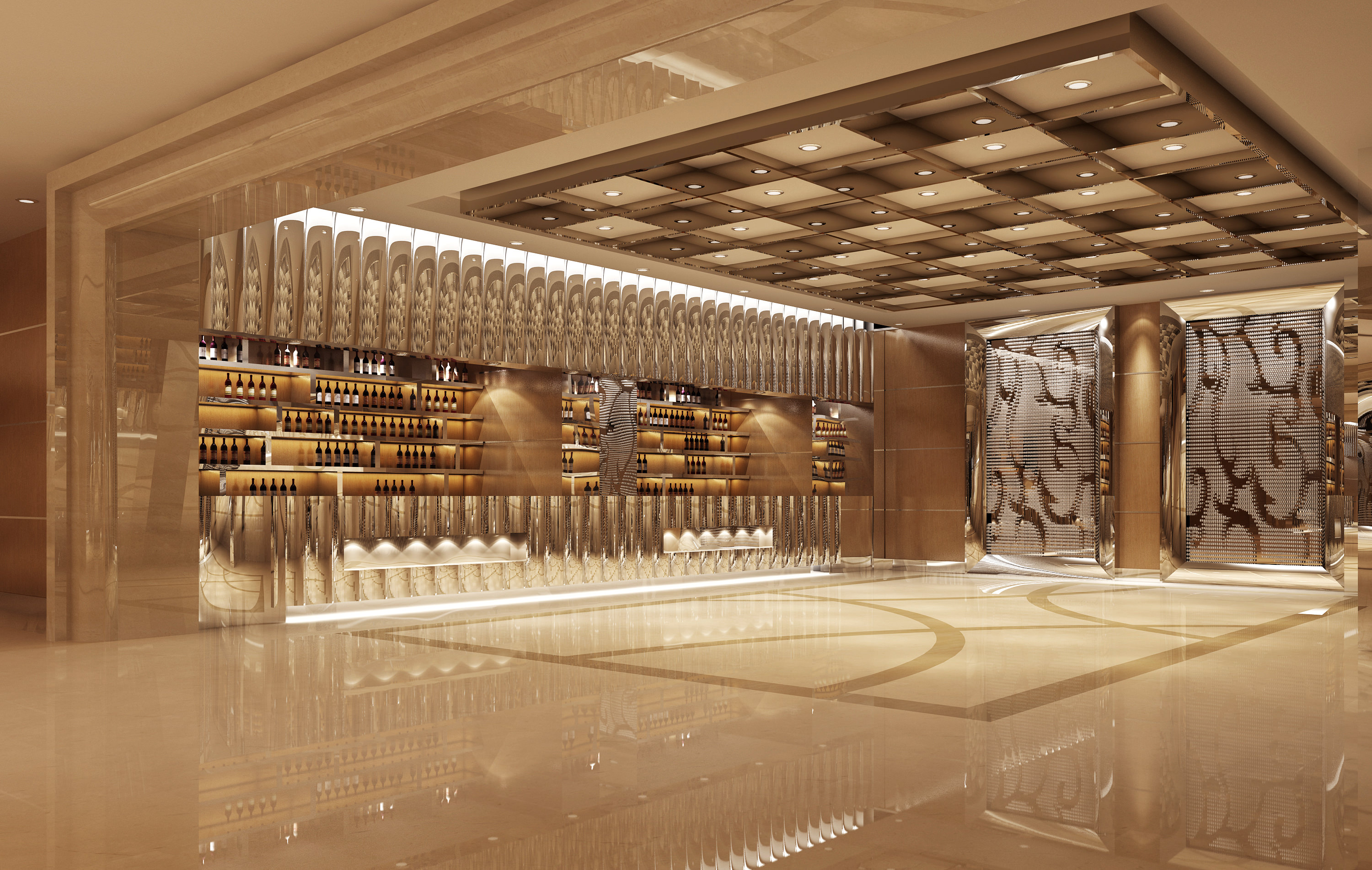 Luxury bar interior 3d model max for Food bar 3d model