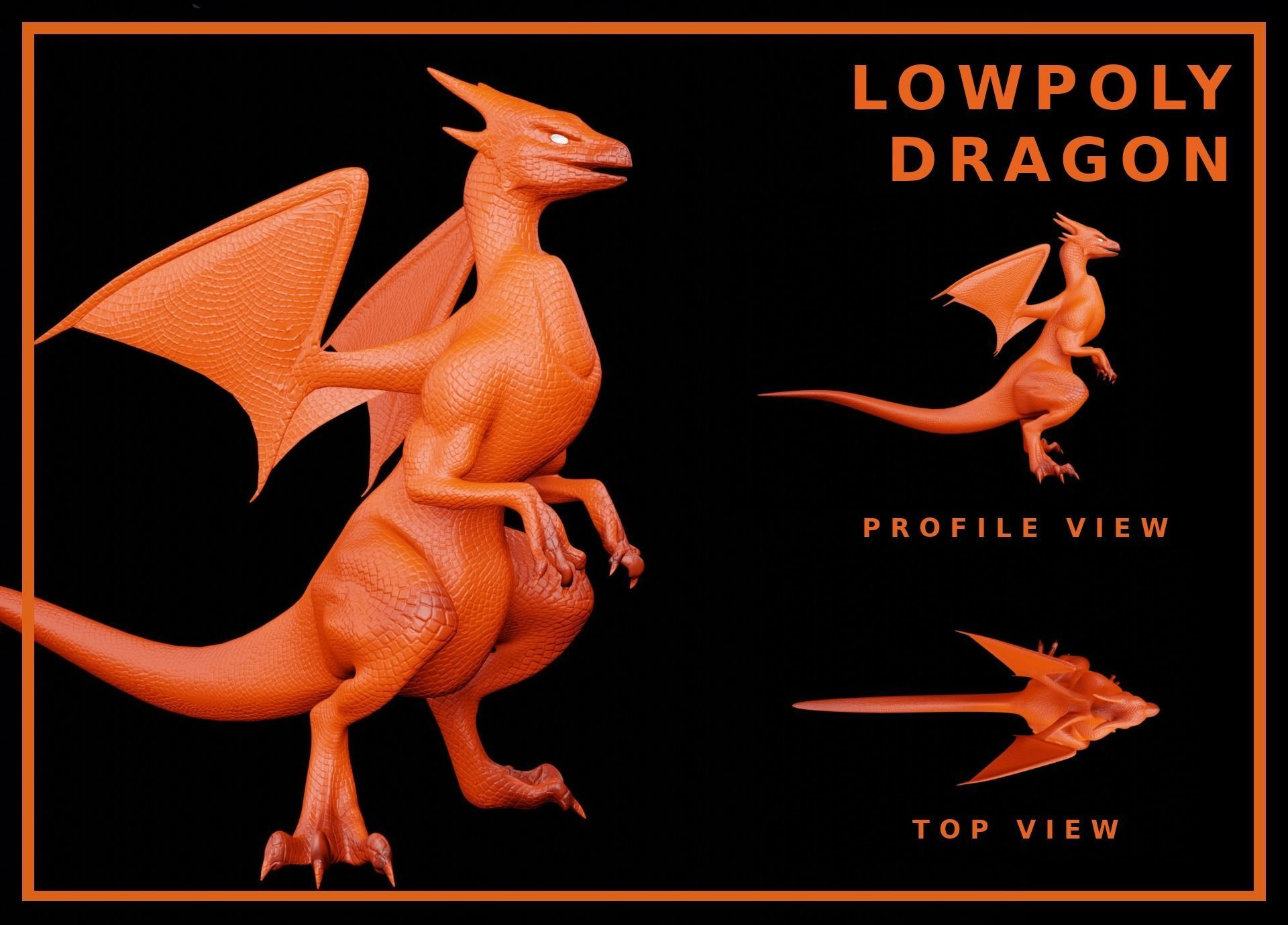 Lowpoly Rigged Flying Dragon