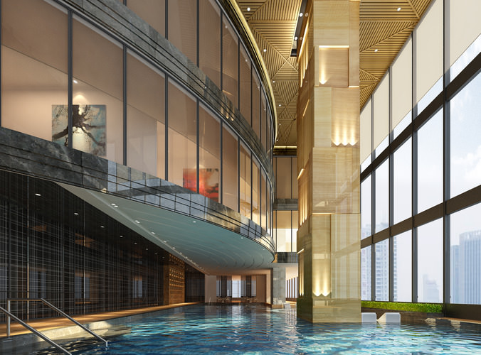 lobby with pool 3d model max 1