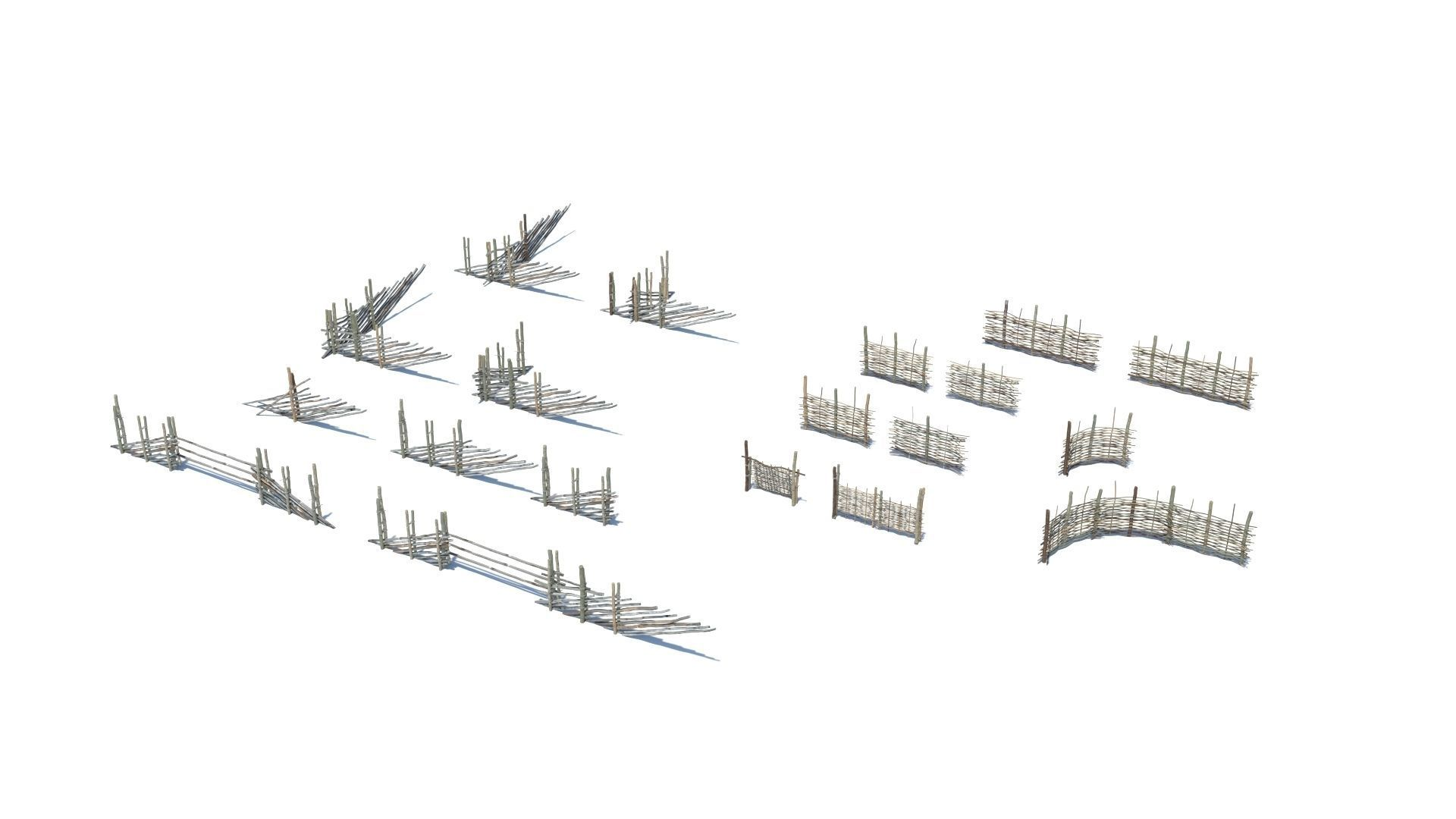 Modular medieval wooden fence pack