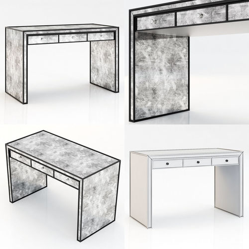 restoration hardware strand mirrored desk 3d model max obj 3ds fbx mtl 1